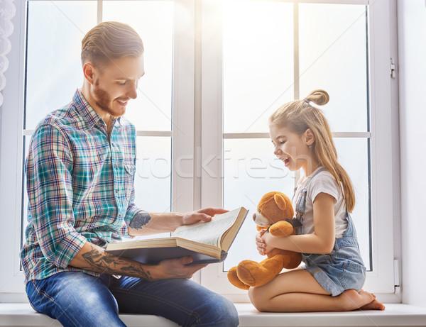 Daddy lezing boek vader kind kinderen Stockfoto © choreograph