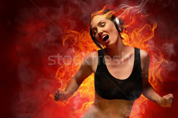 少女 ヘッドホン クラブ 女性 火災 ファッション ストックフォト © choreograph