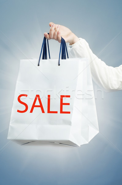 Boodschappentas Blauw ontwerp zak geschenk marketing Stockfoto © choreograph