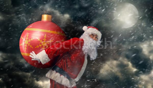 サンタクロース 肖像 巨大な クリスマス 安物の宝石 月 ストックフォト © choreograph