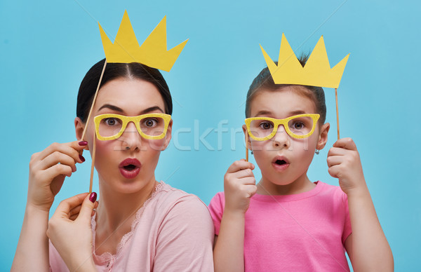 Funny family on background of blue wall Stock photo © choreograph
