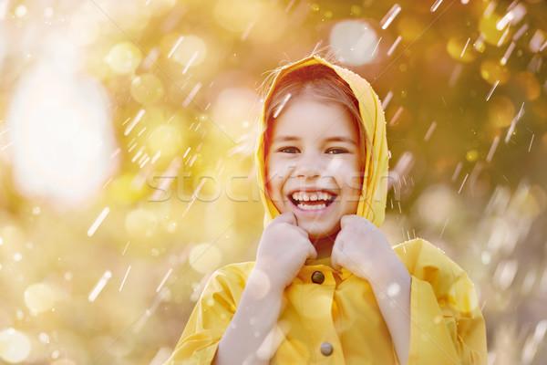 Dziecko jesienią deszcz szczęśliwy funny prysznic Zdjęcia stock © choreograph