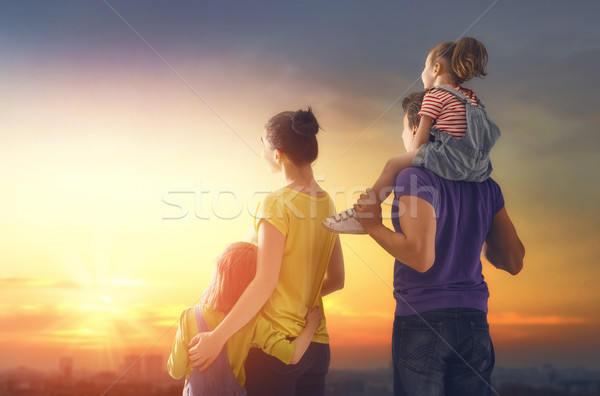 happy family at sunset Stock photo © choreograph