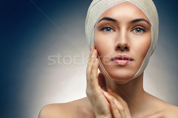 Foto stock: Beleza · mulher · azul · medicina · pele · jovem
