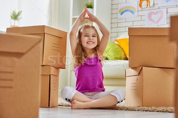 Stok fotoğraf: Yeni · ev · hareket · mutlu · çocuk · ev · eğlence