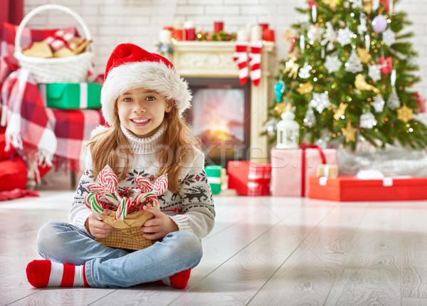 girl in Santa's hat Stock photo © choreograph