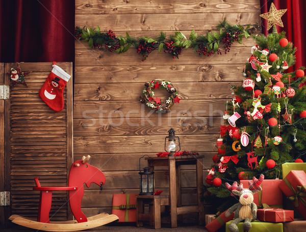 ストックフォト: ルーム · 装飾された · クリスマス · 幸せ · 休日 · 美しい