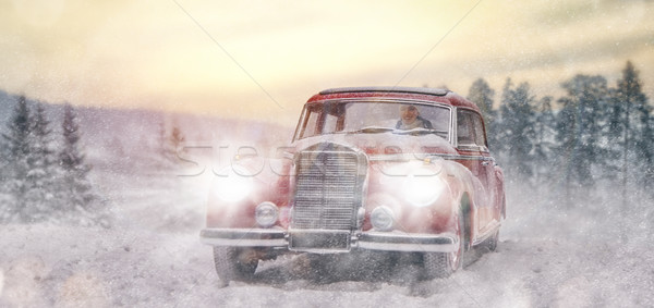 young woman drives vintage car Stock photo © choreograph