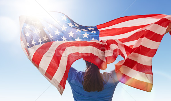 woman with American flag Stock photo © choreograph
