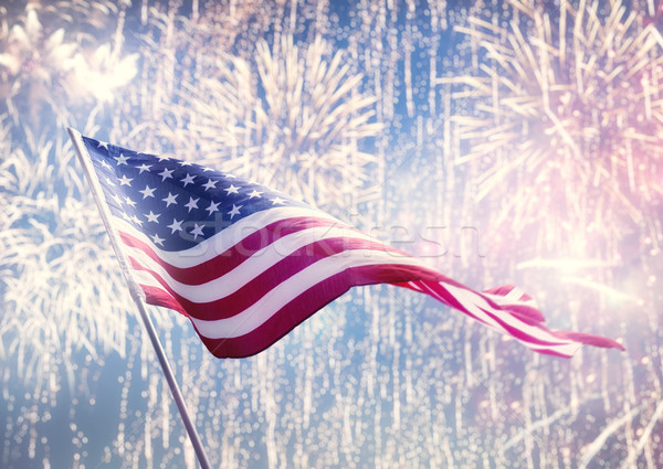 American flag on background of fireworks. Stock photo © choreograph