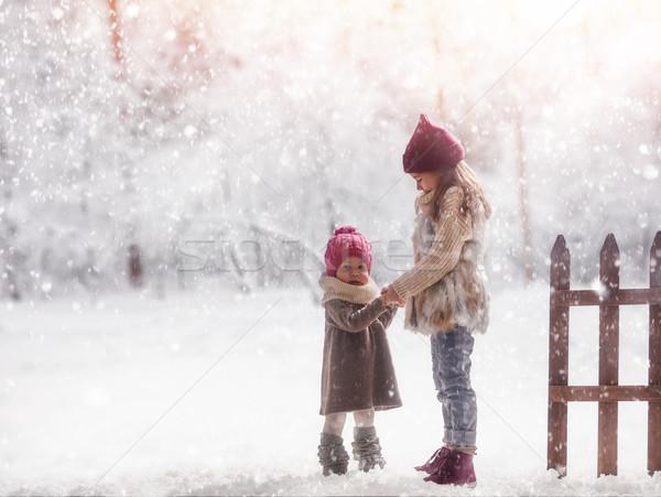 girls playing on a winter walk Stock photo © choreograph
