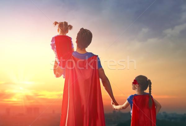 Apa játszik boldog szerető család kint Stock fotó © choreograph