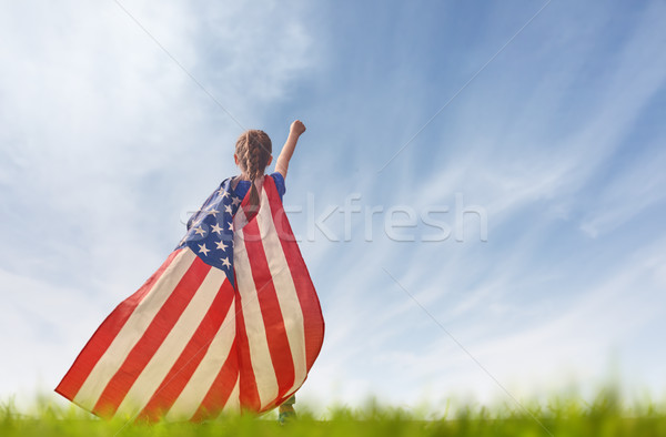 Stock photo: Patriotic holiday. Happy kid