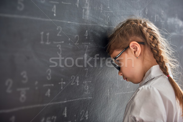 Triste criança lousa difícil dia escolas Foto stock © choreograph
