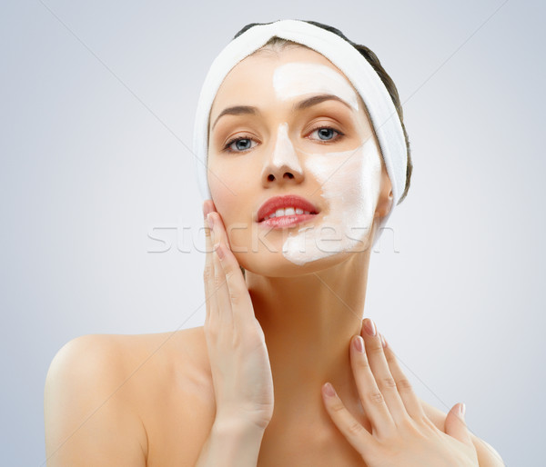 Cosmetische masker schoonheid vrouwen meisje handen Stockfoto © choreograph