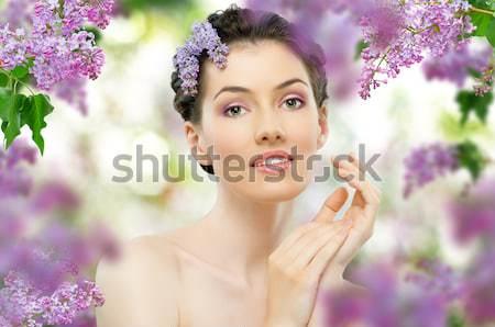 Flor nina belleza mujer cara Foto stock © choreograph