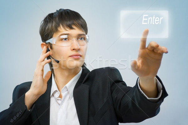 Innovatív technológiák sikeres személy készít férfi Stock fotó © choreograph