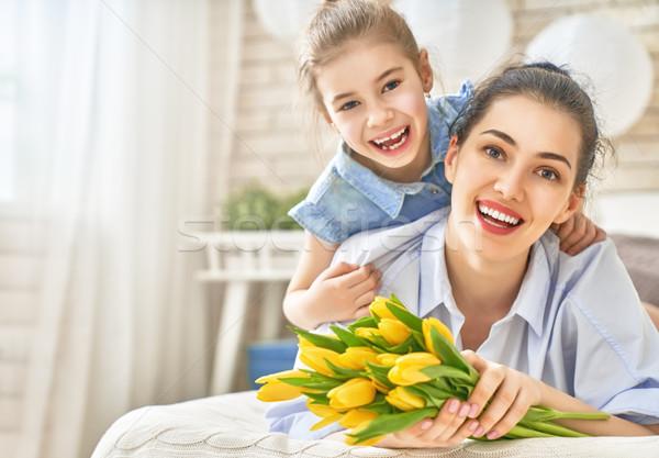 daughter congratulating mom Stock photo © choreograph