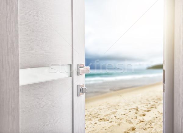 Nyitott ajtó hozzáférés tengerpart szabadidő utazás ünnepek Stock fotó © choreograph