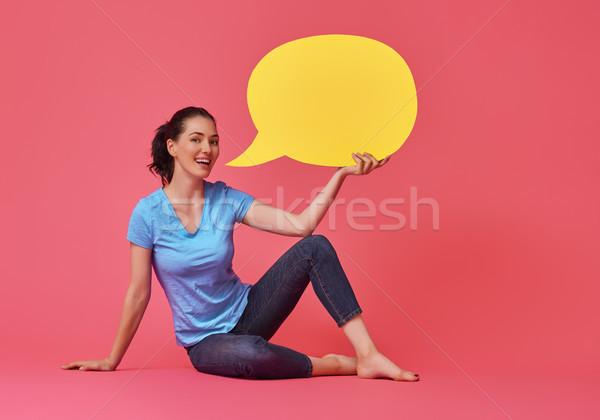 woman with cartoon speech Stock photo © choreograph