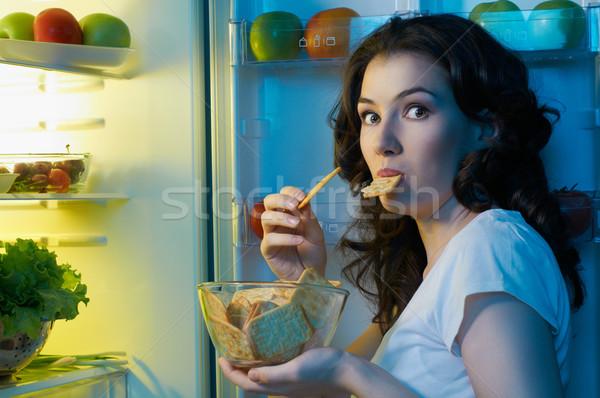 Hűtőszekrény étel éhes lány nő otthon Stock fotó © choreograph