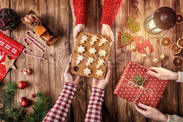 Рождества семьи Традиции веселый счастливым праздников Сток-фото © choreograph