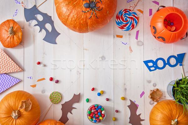 Citrouille bureau heureux halloween bonbons papier Photo stock © choreograph