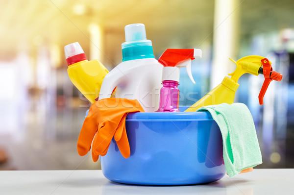 Limpieza cesta trabajo servicio color químicos Foto stock © choreograph