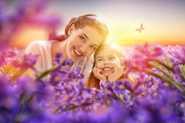 Stockfoto: Gelukkig · gezin · bloemen · gelukkig · moeder · kind · samen