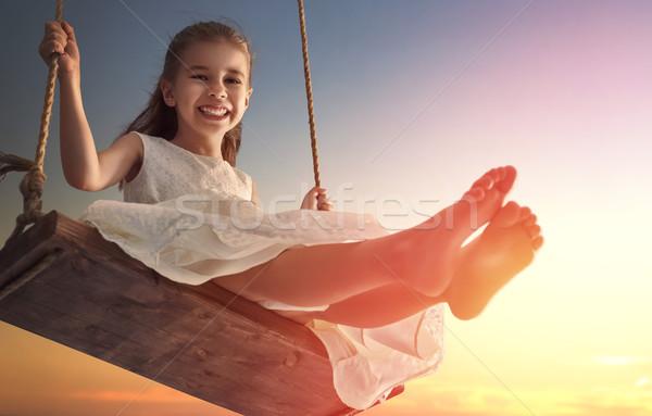 child girl on swing Stock photo © choreograph