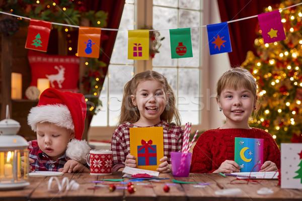 Gyerekek gyártmány kártyák vidám karácsony boldog Stock fotó © choreograph