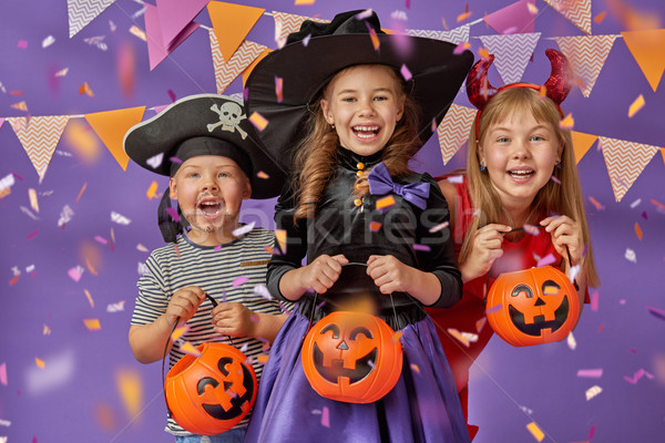 çocuklar halloween mutlu kardeş iki Stok fotoğraf © choreograph