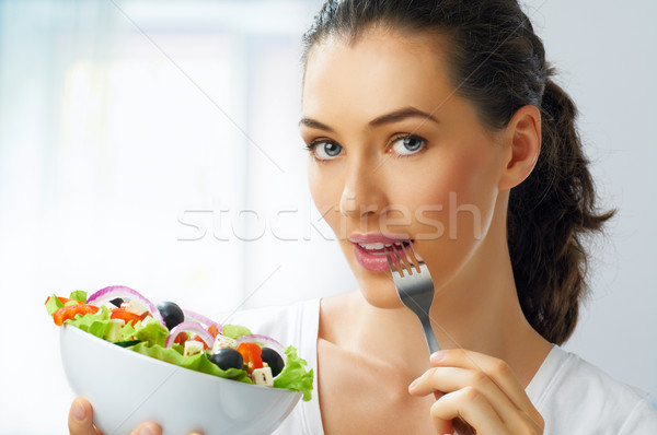 Mangiare sano alimentare bella ragazza donna bocca ritratto Foto d'archivio © choreograph