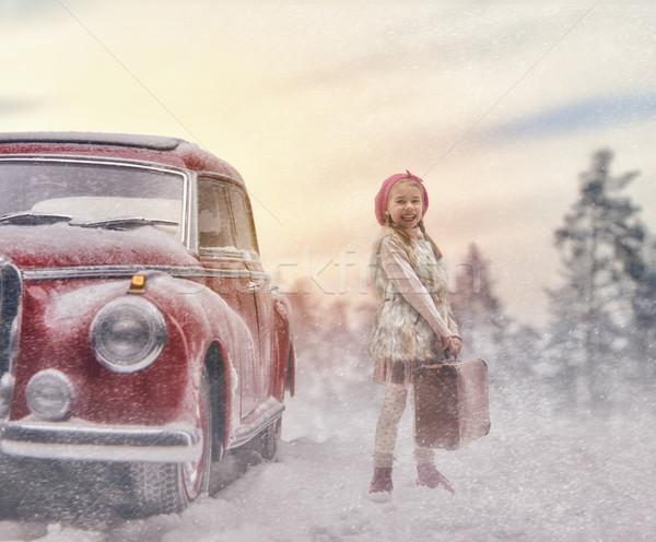 girl and vintage car Stock photo © choreograph