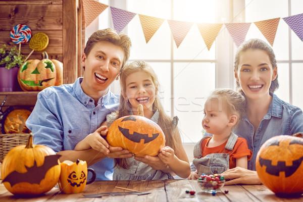 family preparing for Halloween. Stock photo © choreograph