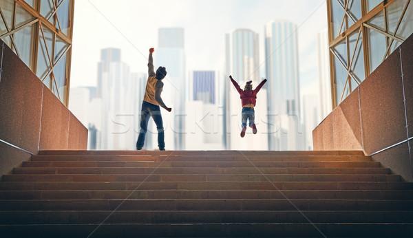 отец ребенка подняться наверх семьи Небоскребы Сток-фото © choreograph