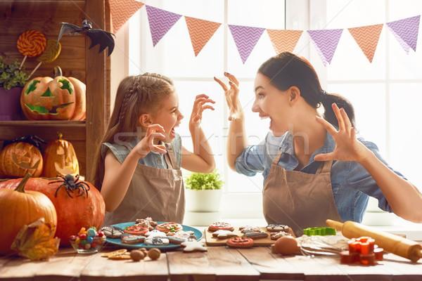 Aile halloween anne kız ev Stok fotoğraf © choreograph