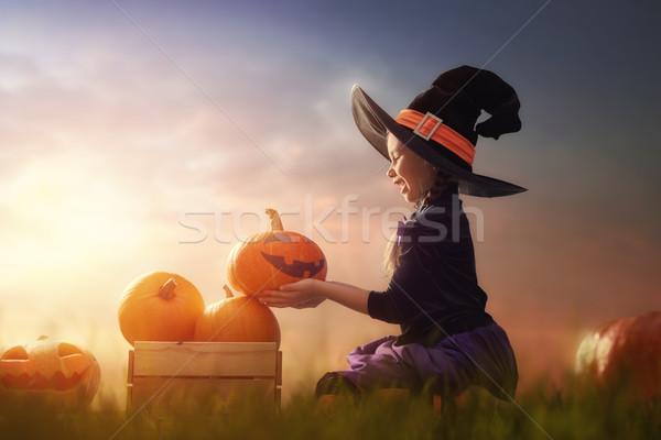 Strega zucche felice halloween cute piccolo Foto d'archivio © choreograph