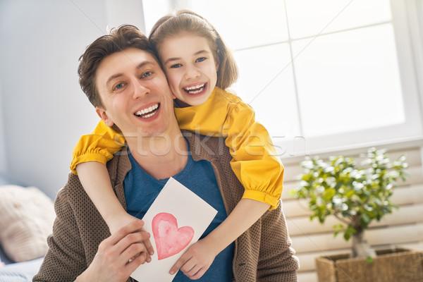 Foto d'archivio: Figlia · papà · giorno · di · padri · felice · bambino · cartolina · daddy
