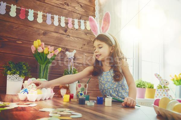 Lány visel nyuszi fülek kellemes húsvétot gyönyörű Stock fotó © choreograph