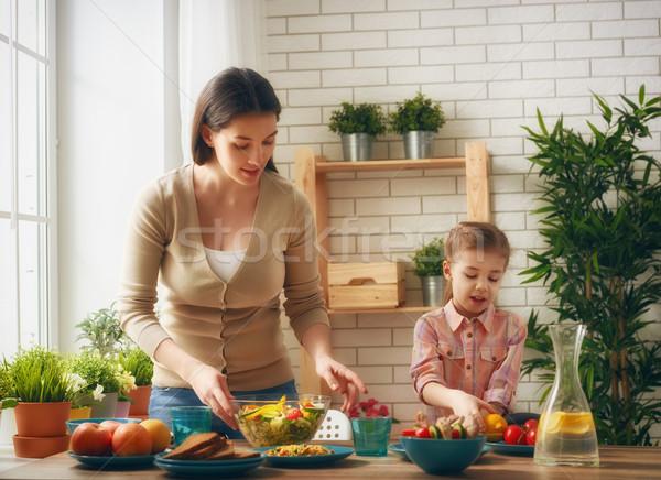 family having dinner Stock photo © choreograph