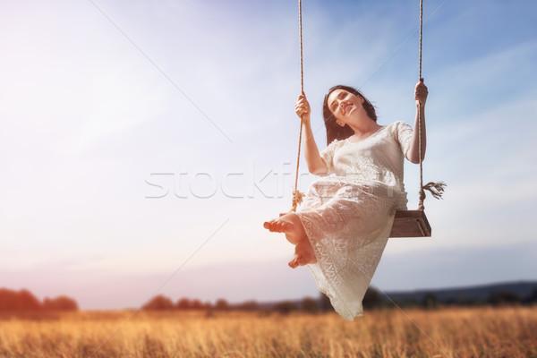 Swing schönen Sommer Tag Freien Stock foto © choreograph