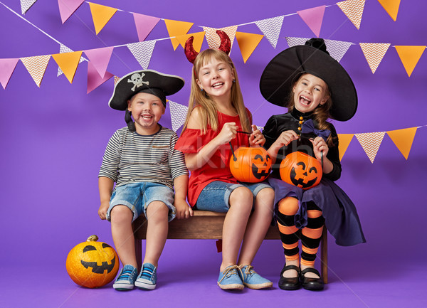 Dzieci halloween szczęśliwy brat dwa siostry Zdjęcia stock © choreograph