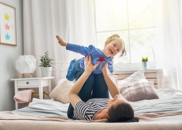 Stok fotoğraf: Anne · kız · oynama · anne · çocuk · birlikte