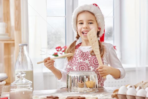 Koken christmas biscuits meisje gelukkig kind Stockfoto © choreograph