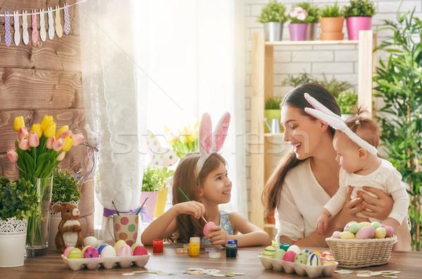 Сток-фото: семьи · Пасху · Христос · воскрес · матери · дочь · Живопись