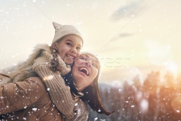 Aile kış sezonu mutlu seven anne çocuk Stok fotoğraf © choreograph