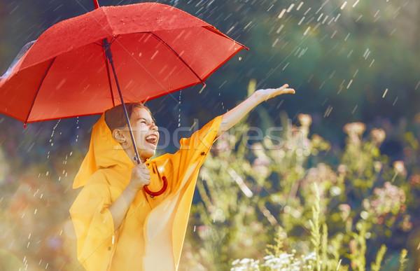 Kind rot Dach glücklich funny Herbst Stock foto © choreograph