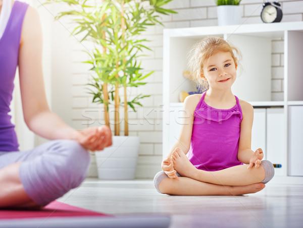 Uygulama yoga kız meşgul kız aile Stok fotoğraf © choreograph