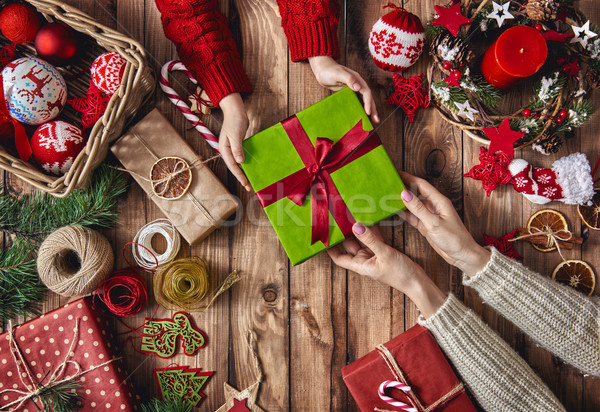Natal família tradições alegre feliz férias Foto stock © choreograph